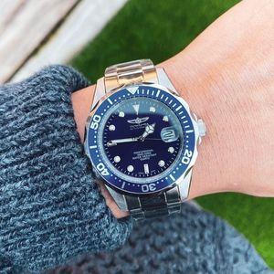 NWT Mens Invicta Submariner Diver Watch Steel Blue